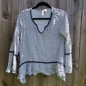 Francesca's Collections Alya Navy White Blouse